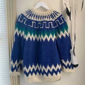 Vintage Sweaters - Vintage Fair Isle Hand Knitted Sweater SZ S